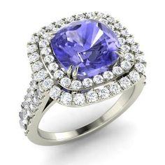 Cushion-Cut Tanzanite  and Diamond  Halo Ring in 14k White Gold