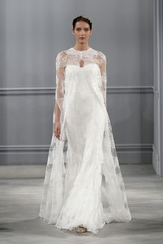 Sandrine, Wedding Dress, Spring Summer 2014, Monique Lhuillier Silk white chantilly lace cape Silk white chantilly lace strapless sheath Frosted crystal headpiece with vine detail
