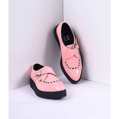TUK Peachy Pink Patent Pointed Toe Vegan Monk Buckle Creeper Shoess ($68) ❤ liked on Polyvore featuring shoes, pink, low heel shoes, pink shoes, faux leather shoes, low platform shoes and low heel platform shoes