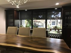 Oversized Black Screen Roller Shade with Flat Black Cassette Track by Elite Decor Miami Privacy Shades, Roller Shades, Shutters, Window Treatments, Blinds, Miami, Track, Dining Room, Windows