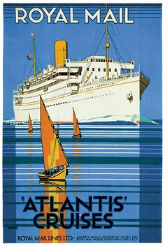 Home Decor 1920's L'Atlantique Ocean Liner Travel LARGE METAL TIN SIGN POSTER VINTYGE STYLE