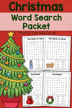 Christmas Word Search Packet - contains 6 word searches for 1st-3rd graders Christmas Maze, Christmas Writing, Christmas Puzzle, Christmas Words, Christmas Crafts, Xmas, Christmas Ideas, Nativity Coloring Pages, Christmas Coloring Pages