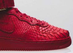 Thumbs up! #Nike #AirForce1 Mid Red Python #Customs for FourTwoFour on Fairfax by The Shoe Surgeon #sneakers #kicks