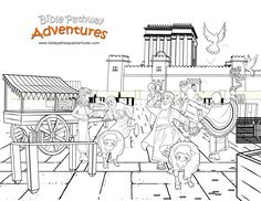 Yeshua clears the Temple! A coloring page for kids from the bible story, Betrayal of The King.