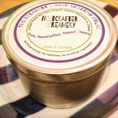 A peek at our new packaging for The Decadent Aged Scottish Dulse, a nut cheese with pieces of dried purple seaweed!