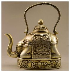 Elephant Teapot, Elephant Figurines, Miao Silver, Silver Teapot, Silver Plate, Cafetiere, Chocolate Pots, Chinese Antiques, Tibet