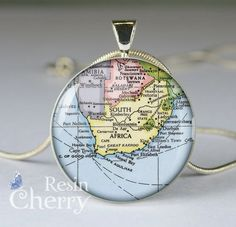 South Africa map necklace pendant