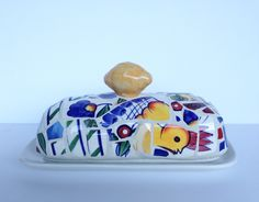 lemon chicken butter dish by butterbiskit on Etsy
