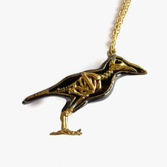 Black Crow Bird Skeleton Brass Pendant