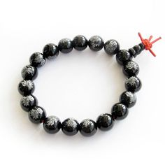 10mm Black Heat Treated Agate Beads Tibetan Buddhist Prayer Meditation Wrist Mala Bracelet. Beads Size: 10mm. Material: Agate.
