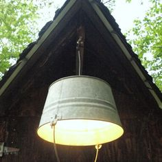 Hanging Pendant Light - Galvanized Bucket -