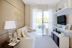 Decoração sala de estar clean branco e bege
