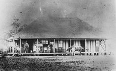 Marburg Hotel, Just outside Brisbane in the Locker Valley, ca. 1886 - Exterior view of the Marburg Hotel. A family group poses on the verandah, including Otto Sakrzewski who was the proprietor of the hotel His wife Auguste is seated, holding a baby. Australian Continent, Largest Countries, Small Island, Tasmania, Historical Photos, Continents, Brisbane, Old Photos, Group Poses