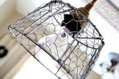 chicken wire pendant lights kitchen | like that it makes little chicken wire shadows dance on my walls in ...