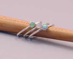 Stacking Rings Silver (3) Opal Chrysophrase Moonstone Sterling Silver