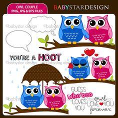 Owl Couple Clipart by babystardesign on Etsy, $6.00