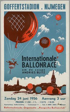 Ballonrace Goffertstadion Nijmegen, 1956. Affiche, ontwerper onbekend. Opdrachtgever: Goffert-stichting.