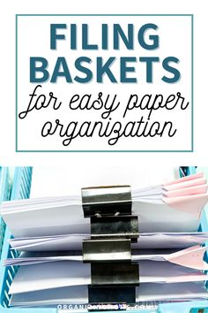 Organizing with baskets by using filing baskets can help you keep your files and papers accessible, yet still neat and tidy. If you struggle with figuring out a good way to store paperwork and files, this simple system might work for you! #Organizing #Decluttering #organizingmoms
