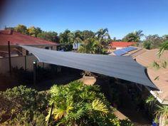 6 Point Driveway Shade Sail - Collingwood Park by Superior Shade Sails, Brisbane Sun Sail Shade, Shade Sails, Carport Shade, Shade Sail Installation, Brisbane Cbd, Patio Shade, West Lake, Sunshine Coast, Luxury Apartments