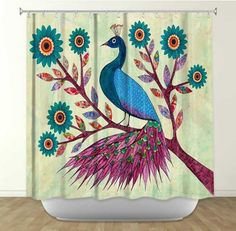 Shower Curtain Artistic Designer from DiaNoche Designs by Arist Sascalia Home Decor and Bathroom Ideas - Blue Peacock Peacock Shower Curtain, Peacock Bathroom, Floral Shower Curtains, Shower Curtain Rings, Contemporary Shower, Purple Trees, Dot And Bo, Decoration, New Art