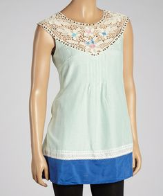 Look what I found on #zulily! Aryeh Seafoam Blue Crochet Silk-Blend Yoke Top by Aryeh #zulilyfinds