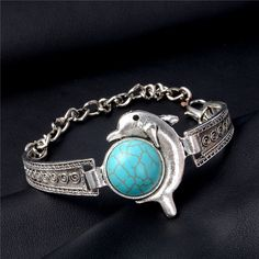 H:HYDE Women Bohemian Retro Vintage Silver Color Owl Fatima Elephant Moon Stone Charm Bracelets Bangles Boho Jewelry - Chain length 20