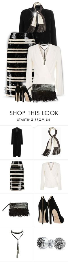 """Memory Lane"" by mcheffer ❤ liked on Polyvore featuring Rick Owens, BCBGMAXAZRIA, Alice + Olivia, Elizabeth and James, Miss Selfridge, Bling Jewelry, stripes, Sequins and embellished"