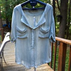 Free People green sheer short sleeve shirt Free People sheer light olive green open front short sleeve shirt. Loose fitting and has shirt tail hem. Free People Tops Blouses