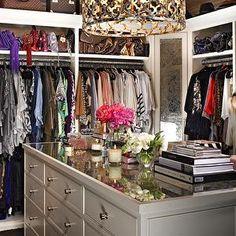 InStyle Magazine - closets - khloe kardashian, khloe kardashian closet, quatrefoil chandelier, gold quatrefoil chandelier, quatrefoil drum p...