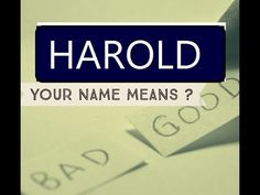 Harold: 1st Name Meaning ★҉ - YouTube