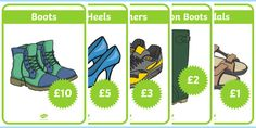 A handy set of display posters to bring your role play area to life! Role Play Areas, Shoe Shop, Display, Learning, Poster, Shopping, Floor Space, Billboard, Studying