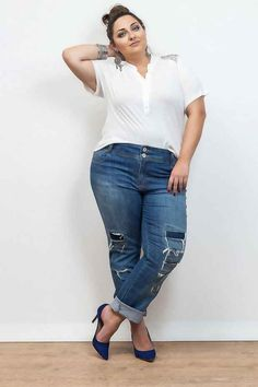 Stylish Plus-Size Fashion Ideas – Designer Fashion Tips Plus Size Looks, Curvy Plus Size, Plus Size Jeans, Plus Size Model, Curve Fashion, Plus Size Fashion, Curvy Outfits, Plus Size Outfits, Plus Size Online Stores