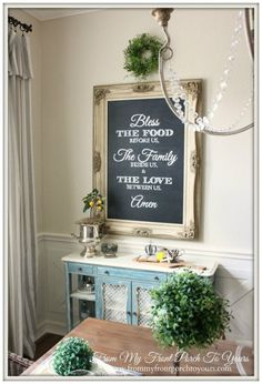Astonishing decoration farmhouse dining room wall decor from my front porch to yours french farmhouse dining Dining Room Storage, Dining Room Design, Dining Rooms, Dining Table, Dining Room Quotes, Dining Room Wall Art, Room Art, Kitchen Storage, Console Table