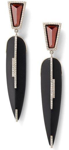 Black tourmaline, garnet, and white diamond earrings, 18 carat recycled white gold, 0.52 TCW