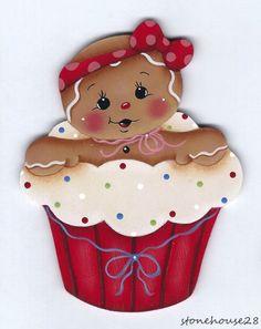 HP GINGERBREAD Cupcake Girl FRIDGE MAGNET #Handpainted