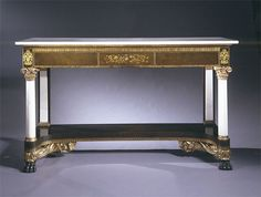 IMPORTANT CLASSICAL MAHOGANY CARVED AND GILT STENCILED SERVER WITH MARBLE COLUMNS AND TOP Attributed to Holmes & Haines New York, 1825