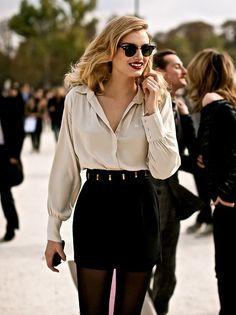 Ivory + Black. Gorgeous work wear.