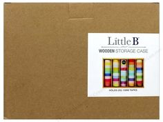 """Little B Storage Cases let you stylishly contain and display your crafting products. Wooden 50pc- Light-weight blond wood box with sliding hard plastic front. Holds up to 50 rolls of 5/8"""" wide decorative paper tape, not included. Measures about 9.75""""x 6.88""""x 2"""""""