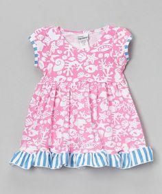 Another great find on #zulily! Pink & Blue Fantasea Reef Ruffle Dress - Infant & Girls #zulilyfinds