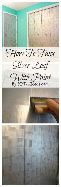 Learn HOW TO CREATE A FAUX SILVER LEAF finish using paint. Such a fun way to create a feature wall! Tons more DIY's @ DIYFUNIDEAS.COM.