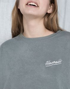 Pull&Bear - woman - sweatshirts - embroidered sweatshirt - mint - 05591317-V2016