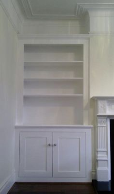 Alcove Cupboards & Shelving - PJH Carpentry and Joinery Alcove Cupboards & Shelving -. Alcove Ideas Living Room, Desk In Living Room, Living Room Cabinets, Living Room Shelves, Living Room Storage, Living Room Designs, Dado Rail Living Room, Dining Room, Kitchen Storage