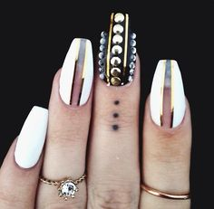 Gold and White Coffin Nails