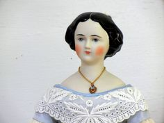 "14 1/2"" Jenny Lind Parian China Head Doll Flowers in Hair 1860 Repro silk gown"