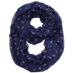 By the Sea Tiny Anchor Infinity Scarf  Navy (225 MXN) ❤ liked on Polyvore featuring accessories, scarves, navy scarves, navy shawl, infinity loop scarves, infinity scarves and loop scarf