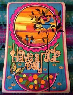 #Vintage 1970 HAVE A NICE DAY Black Light Poster Psychedelic #70s
