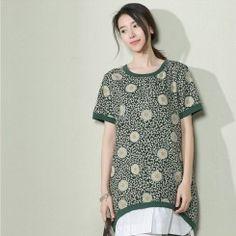 Green daisy print linen sundress plus size cotton summer dress-will be available…