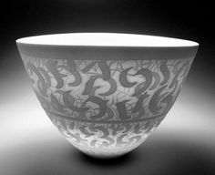 Ceramics by Peter Lane at Studiopottery.co.uk - Autumn 2002. Ice Curls bowl, Southern Ice porcelain.