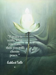 """If peace is really what you want, then you will choose peace."" Eckhart Tolle"