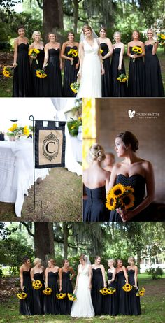black and sunflower real weddings and black bridesmaid dresses